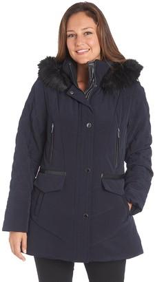 Fleet Street Women's Faux-Fur Hood Quilted Puffer Jacket