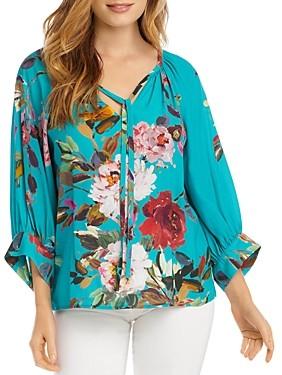 Karen Kane Floral Print Tie-Neck Top