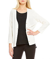 Jones New York Woven Back Hi-Low Hem Cardigan