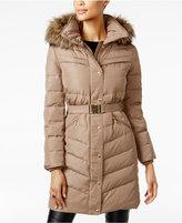 MICHAEL Michael Kors Faux-Fur-Trim Belted Down Puffer Coat