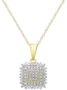 Townsend Victoria Diamond Square Pendant Necklace (1/2 ct. t.w.) in Sterling Silver or 18k Gold-Plated Sterling Silver