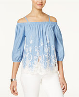 Amy Byer Juniors' Crochet-Trim Off-The-Shoulder Chambray Top