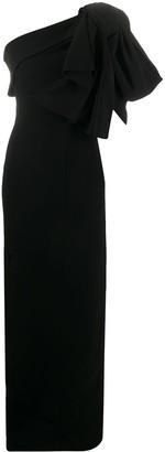 Balmain One-Shoulder Side-Slit Dress