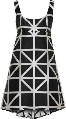 Milly Roxanne Flared Satin-jacquard Mini Dress