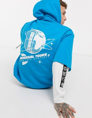 ASOS DESIGN oversized double layer hoodie in blue with sleeve prints