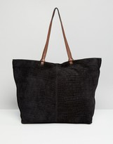 Asos Suede Croc Shopper Bag With Knot Detail