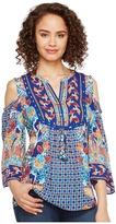 Hale Bob Sunshine Daze Rayon Dot Woven Cold Shoulder Top Women's Clothing