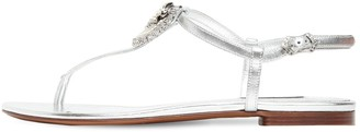 Dolce & Gabbana 10mm Embellished Metallic Leather Sandal