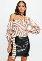 Missguided White Striped Bardot Tie Around Crop Shirt