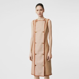 Burberry Button Panel Detail Wool Blend Shift Dress