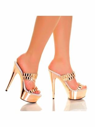 """The Highest Heel Glamorous 31 6"""" Heel Platform Sandals with Embellished Straps"""