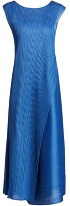 Pleats Please Issey Miyake Diagonal Pleats Sleeveless Midi Dress