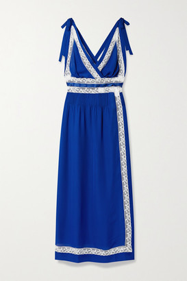 Loretta Caponi Paolina Lace And Satin-trimmed Silk-georgette Nightdress - Royal blue