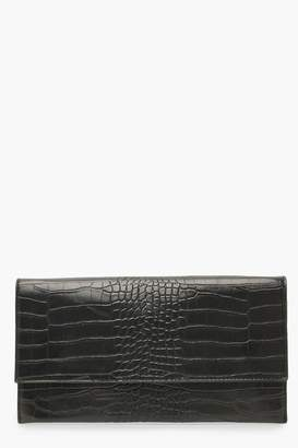 boohoo Croc Fold Over Clutch Bag & Chain