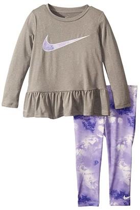 Nike Kids Dri-FITtm Peplum Tunic Top and Leggings Two-Piece Set (Toddler) (Purple Agate) Girl's Active Sets