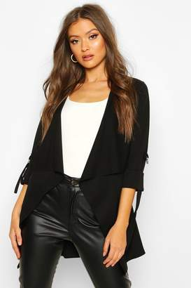 boohoo Waterfall Jacket With D Ring Feature Sleeve