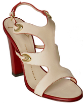 cream leather cut-out sandals