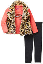 Betsey Johnson Lips Sequin Patch Tee, Leopard Print Faux Fur Moto Vest & Legging Set (Toddler Girls)