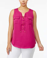 INC International Concepts Plus Size Lace-Up Tank, Created for Macy's