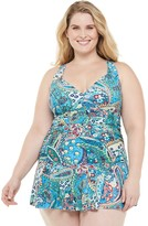 Chaps Plus Size Cross Back Skirted Tummy Slimming One-Piece Swimdress