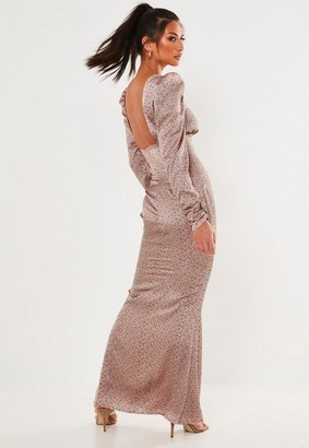 Missguided Blush Polka Dot Satin Low Back Maxi Dress