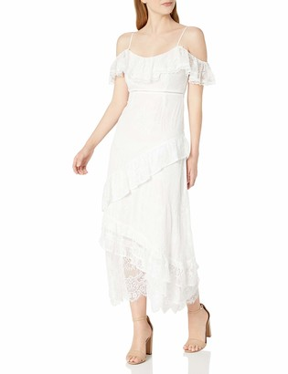 ASTR the Label Women's Marguerite Off The Shoulder Soft Lace Ruffle Maxi Dress