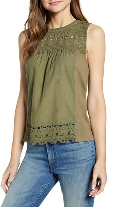 Lucky Brand Shiffly Cotton Eyelet Shell