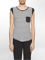 Calvin Klein Chest Pocket Stripe Short Sleeve Top