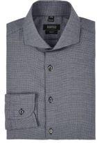Barneys New York Men's Micro-Houndstooth Cotton Flannel Shirt-DARK GREY