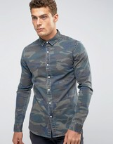 Asos Skinny Denim Shirt With Camo Print