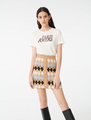 Maje Buttoned jacquard skirt
