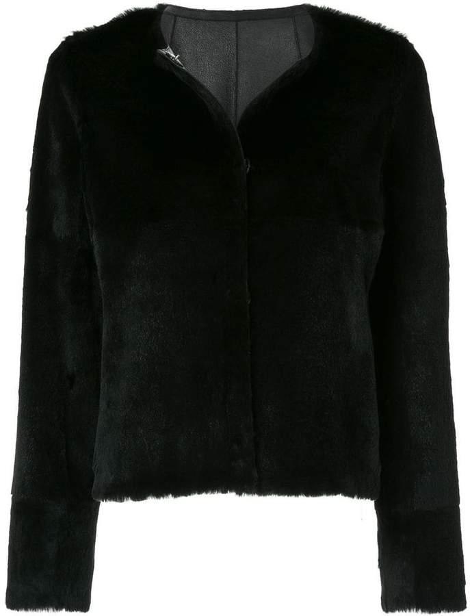 Yves Salomon round neck classic short coat
