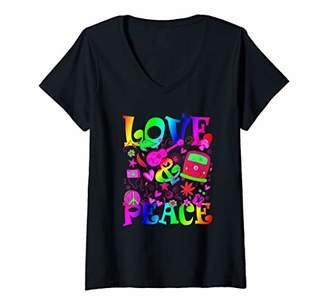 Womens Hippie Costume Flower Power Love Peace 60er 70er Retro V-Neck T-Shirt