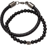 Simon Carter Double Bracelet Set Onyx Gunmetal Skull Bead Black Leather