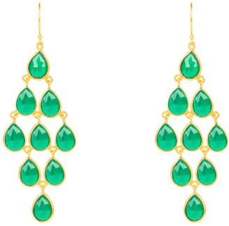 Latelita Erviola Gemstone Cascade Earrings Gold Green Onyx