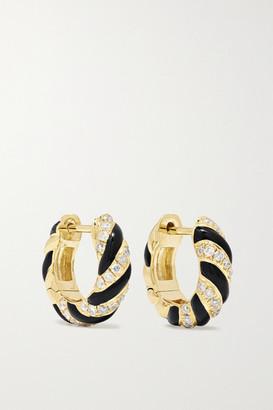 Yvonne Léon 9-karat Gold, Enamel And Diamond Earrings - one size