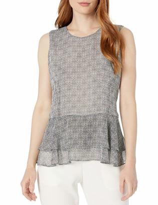 Tommy Hilfiger Women's Printed Peplum Sleeveless Woven Top