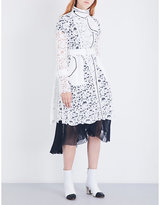 Sacai Buckle-fastened floral-lace coat