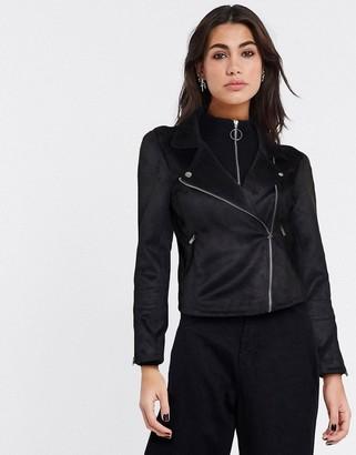 Only gerry faux suede biker jacket in black