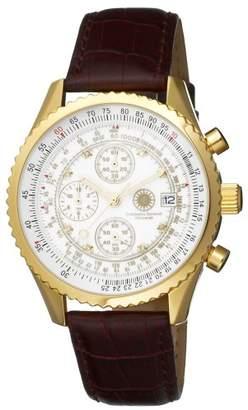 Constantin Durmont Navigator Diamond White navwh-d - Knight Quartz Chronograph Watch with Brown Leather Strap