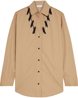 Sandro Oderic Whipstitched Cotton-poplin Shirt
