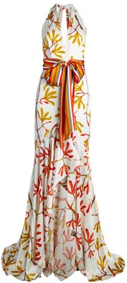 Silvia Tcherassi Pescia Halter Silk High-Low Gown