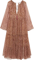 Zimmermann Realm Metallic Paisley-print Silk-georgette Dress - Antique rose