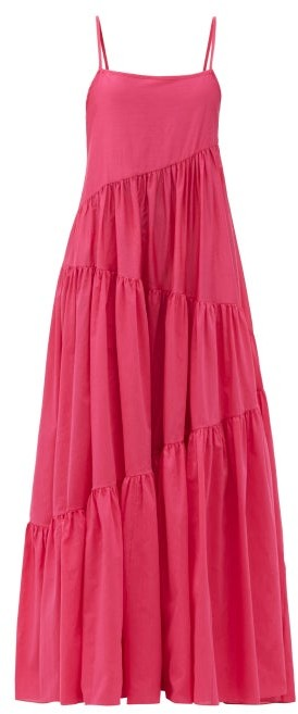 Matteau The Asymmetric Tiered Cotton-blend Maxi Dress - Fuchsia