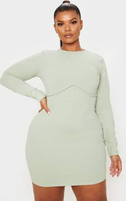 PrettyLittleThing Plus Sage Khaki Crepe Corset Detail Long Sleeve Bodycon Dress