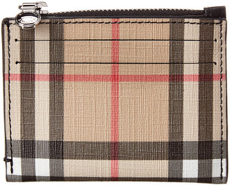 Burberry Vintage Check & Leather Zip Card Case