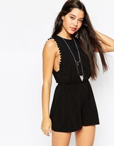 Asos Drop Armhole Jersey Romper with Pom Poms