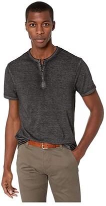 Buffalo David Bitton Kasum Short Sleeve Split Neck Henley (Black) Men's T Shirt