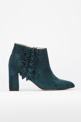 Wallis **Teal Ruffle Detail Pointed Ankle Boots