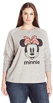 Disney Women's Plus Size Minnie High-Low Burnout Fleece Pullover
